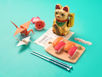 City Speakeasy Japanese Vignette sushi origami chopsticks ducky cat japanese japan knolling props creative direction photography