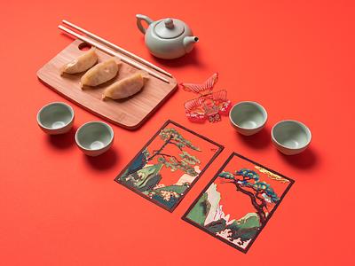 City Speakeasy Chinese Vignette dragon bonsai dumplings chopsticks tea chinese china knolling props creative direction photography