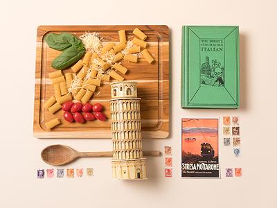 City Speakeasy Italian Vignette language tower of pisa pasta italian rome italy knolling props creative direction photography