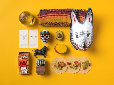 City Speakeasy Spanish Language Vignette spanish language photography styling layout knolling avocado tacos mask mexico spain