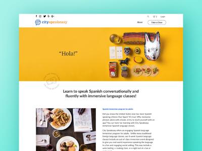 City Speakeasy Spanish Landing Page landing page education language spanish ui website web design