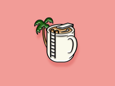 """Pinned"" Facebook Sticker: Paradise Joe paradise pool palm drink coffee illustration enamel pin sticker facebook"