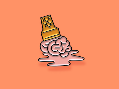 """Pinned"" Facebook Sticker: Brain Melt melting idea brain cone ice cream illustration enamel pin sticker facebook"