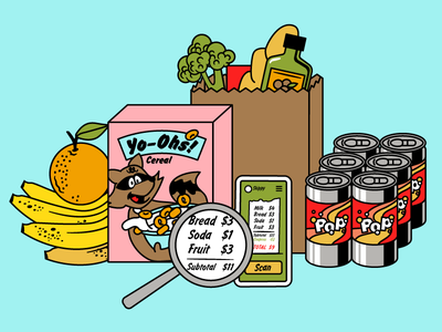 Skip Checkout Illustration - See Your Bill characters cartoon cereal banana coke beer soda food groceries illustration