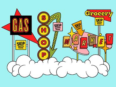 Skip Illustrations - Wide Network checkout market store vintage neon sign retro cartoon illustration