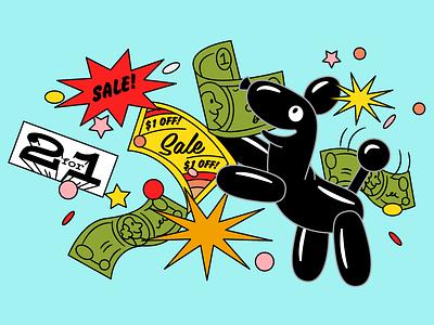 Skip Illustrations - Coupons cartoon retro deal savings money coupon dog animal balloon illustration