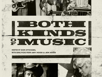 Both Kinds Of Music Logo Lockup and Layout gritty vintage letterpress serif slab old country western. brand identity branding logo