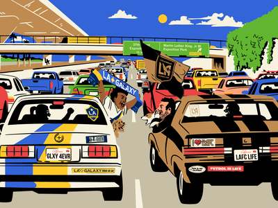 LAFC vs Galaxy for ESPN vector rivalry illustration colorful retro traffic road car los angeles galaxy lafc sports soccer futbol espn