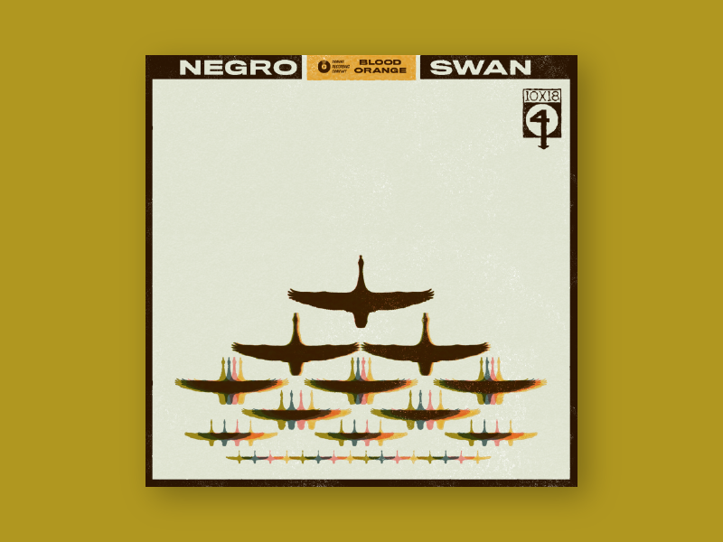 10x18 #04: Negro Swan by Blood Orange retro record swan concept illustration cover art album cover album album artwork 10x18 album art