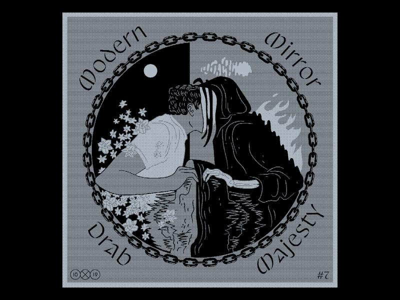 10x19  Drab Majesty 10x19 reaper narcissus death illustration halftone scan xerox music record album album art