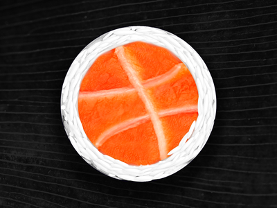 Hello Dribbble, have some sushi yummy tasty roll seaweed illustration salmon ball icon rice sushi photoshop debut