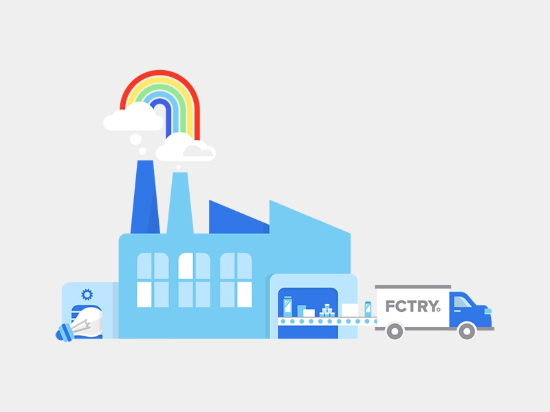FCTRY assembly line conveyor belt product design clouds smokestack idea ideas products truck brooklyn rainbows factory