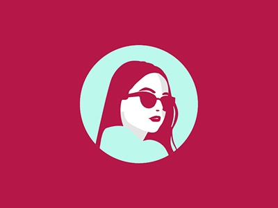 who is she?  negative space hair sunglasses person avatar icon vector minimal lips human girl portrait