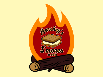 Hershey Smores Bar Campfire Logo Design vector graphic branding graphicdesign logo design candybar bars candy fire campfire camp bar smores hershey
