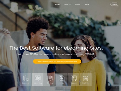 Landing page for eLearning site wplms
