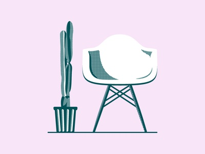 At Home (03) cactus eames design illustration