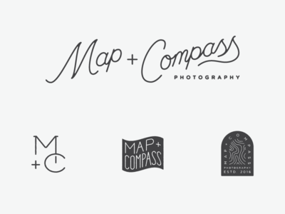 Map + Compass photography branding lettering