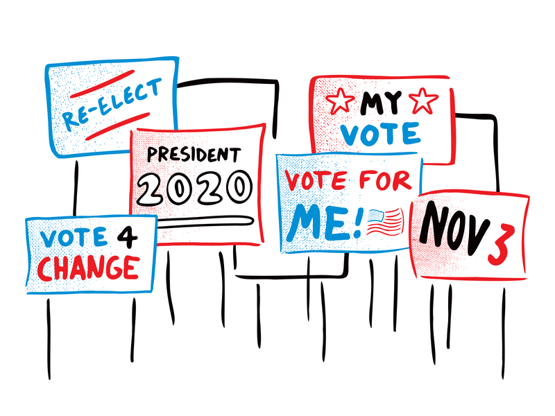 Political Yard Signs chicago election day lawn yard vote elections 2020 voting vector illustration signage yard signs election politics