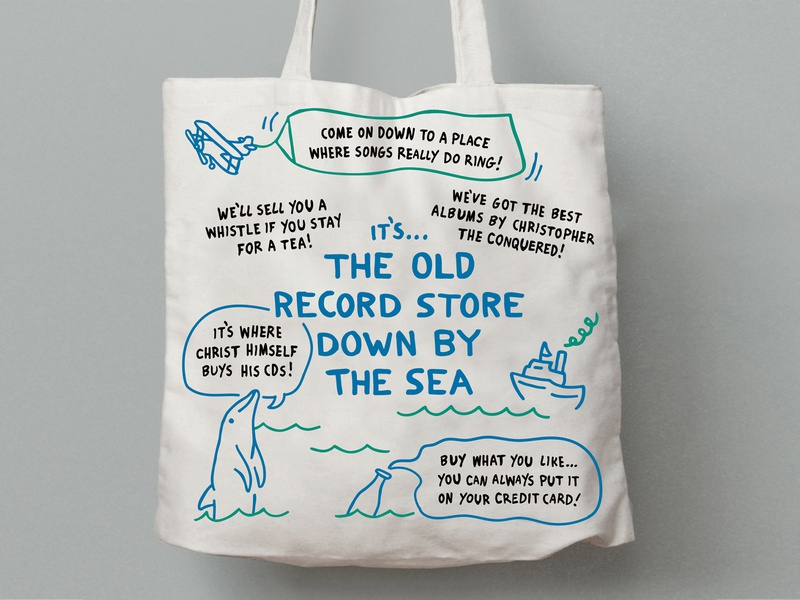 Christopher the Conquered Tote Bag ocean preorder album vinyl merchandise band merch indie music record store illustration sea dolphin tote bag