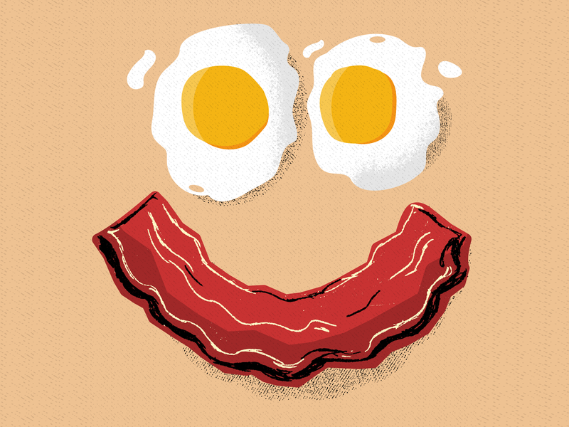 Bacon and Eggs Face face sunny side up retrosupply vintage retro texture illustration cooking restaurant diner hungry food breakfast eggs bacon