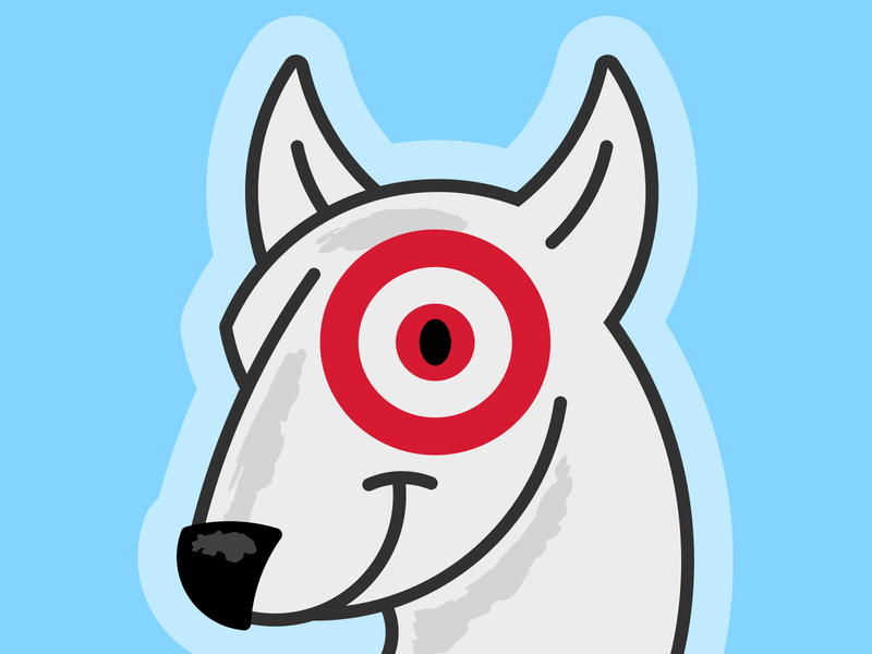 Bullseye, the Target Dog vector art shopping brand mascot brand design brand character advertising icon dogs cute puppy miniature bull terrier mini bull terrier bull terrier red mascot retail pets dog bullseye target