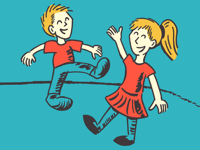 Dancing Kids retro illustration chicago childrens illustration siblings children sketchy seuss dr seuss cute kids dancing