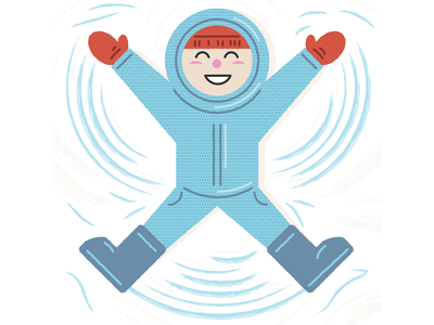 Making Snow Angels childrens illustration vector cute illustration snow day wintertime angel snow angels children boy kid weather cold snowing snow winter