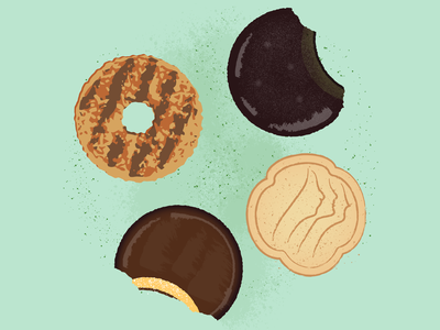 Girl Scout Cookies confection baked goods biscuit fundraising crumbs food snacking snacks sugar dessert treats cookies junk food scouting girl scouts