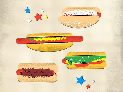 Hot Dog Varieties outdoors bbq barbeque cooking texture vintage retro classic buns delicious hungry eating summer celebrating party food meat sausage hot dogs