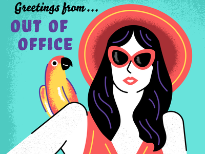Out of Office paradise sunny fashion woman sunglasses parrots jungle tropical beach island holiday summer vacation travel poster postcard vintage retro illustration