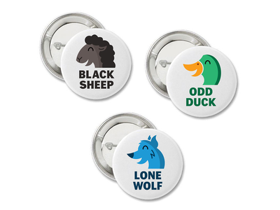 Misfit Animals Buttons 3-Pack single quirky loner smiling cute individual free spirit eccentric awkward weird introverts outcasts misfits wolf duck sheep nature wildlife animals buttons