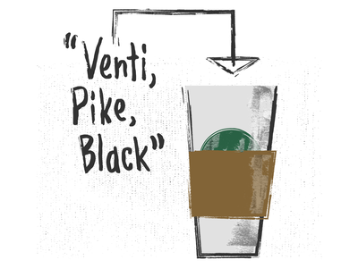My Starbucks Order sip pacific northwest pike place seattle fast food black coffee simple texture type typography hot drinking caffeine drink food coffee shop cafe coffee dunkin starbucks