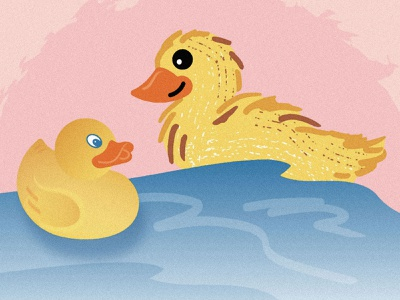 Perfect Pairs Series (1 of 3) mates lookalikes twins doubles toys feathers yellow bath time illustration counterparts alter ego friendship wildlife animals cute bathtub water duckling birds rubber duck