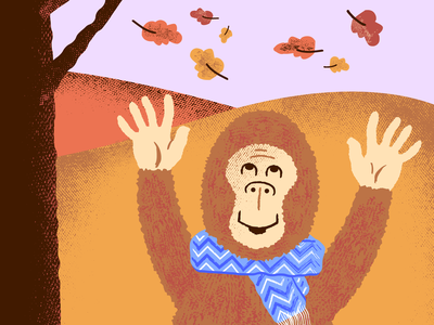 Bigfoot's Autumn Walk september october abominable tree scarf creature ape weather autumn leaves foliage fall colors nature wildlife cryptozoology cryptids yeti sasquatch monsters bigfoot