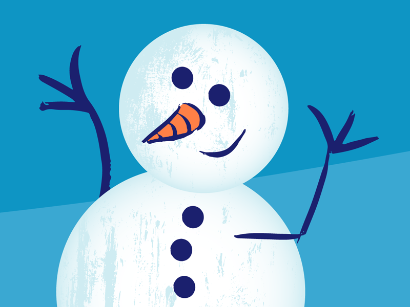 Happy Winter cold ice childrens illustration for kids cute illustration vector frosty snowman snow winter