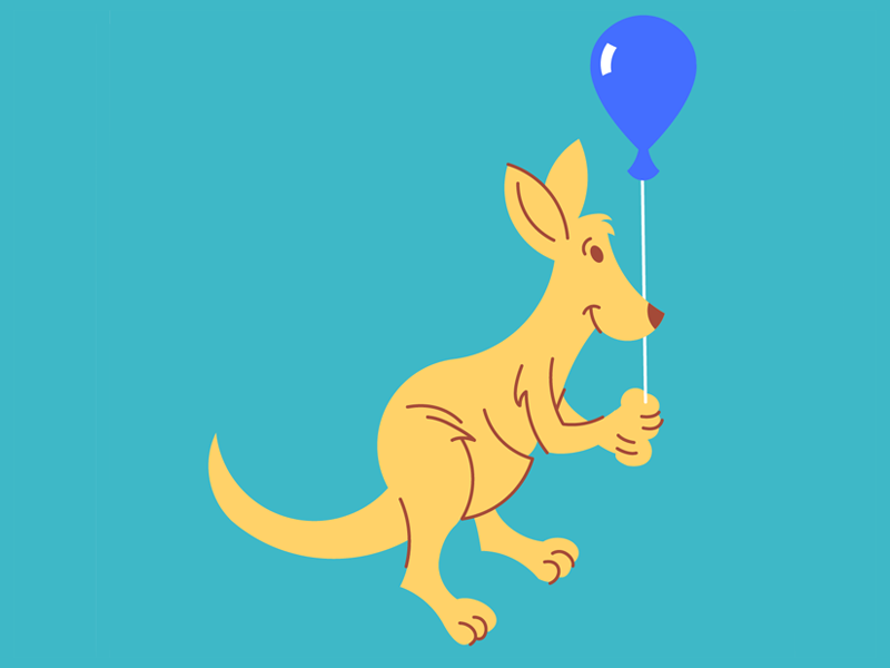 Kangaroo with a Balloon for kids vector childrens illustration cute animals animal blue balloon balloon kangaroos marsupial kangaroo
