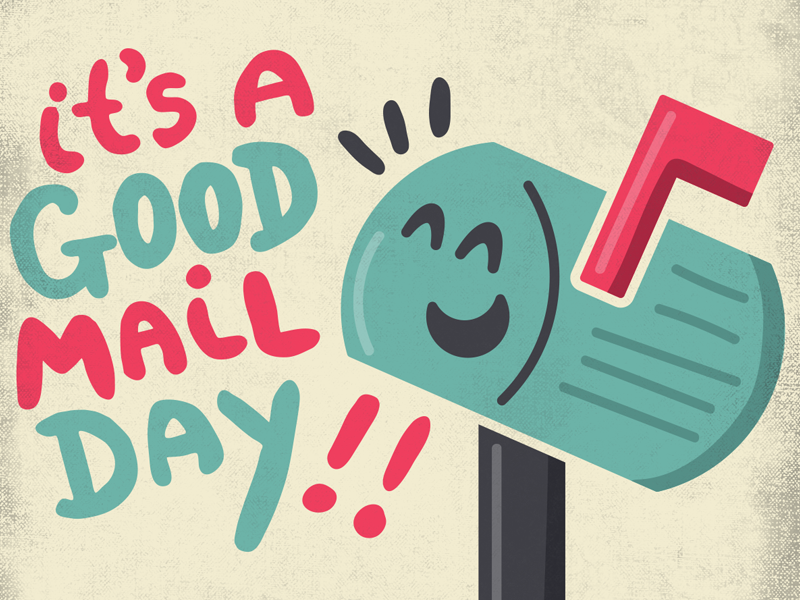 Good Mail Day childrens illustration vector cute illustrator illustration post office postcard mailbox mail
