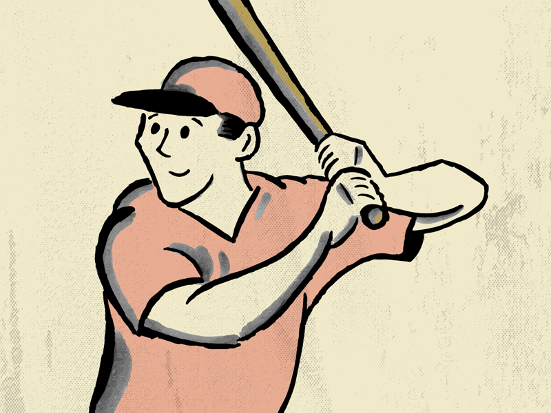 Retro Baseball Player baseball bat baseball game sports cute vector illustration vintage retro baseball player baseball