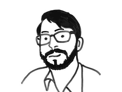 Self-Portrait minimalistic drawing line drawing glasses beard digital ink drawing ink self-portrait portrait
