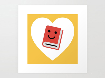 """I Heart Books 8""""x8"""" Art Print homework scholar library bibliophile bookworm smile writers writing fiction literature readers reading for kids cute red love hearts heart books book"""