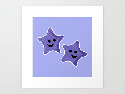 "Starfish Friends 8""x8"" Art Print for kids vector childrens illustration illustrator illustration stars purple ocean sea animals water aquatic fish seastar starfish"