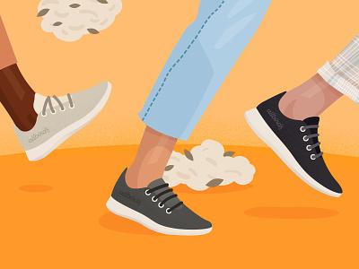 Allbirds Brand Illustration orange running shoes ecommerce sneakers allbirds design brand design brand vector photoshop illustrator illustration graphic design flat art