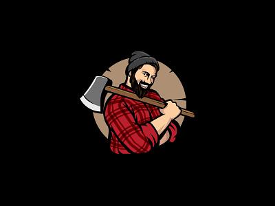 lumberjack mascot icon design luxury logo luberjack