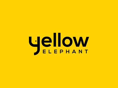 yellow elephant typography minimal icon logo design