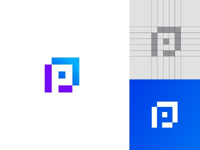 P logo app minimal design branding lettermark typography icon logo