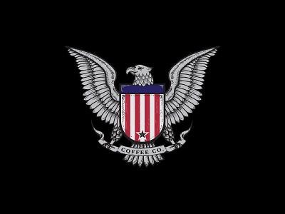 coffee co animal mascot logo icon design eagle usa flag usa cafe coffee patriotic