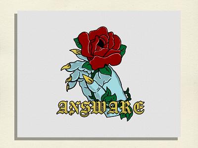 ANSWARE ROSE vintage font design branding vintage badge vintage apparel logo vintage logo vintage design clothing apparel