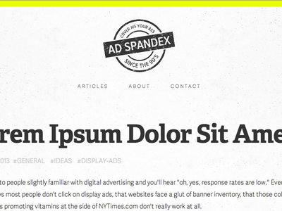 Ad Spandex Website advertising header centered angle lorem ipsum tags hash small menu simple minimal