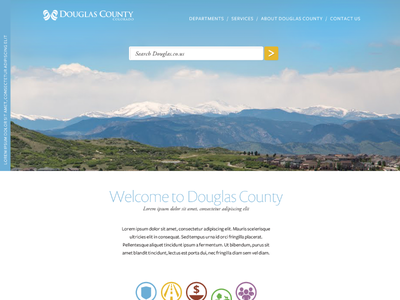 Proposed County Website government hero image clouds mountains scenic icons search bar
