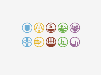 Icons for the 5 Board Goals county government icons symbols arrows